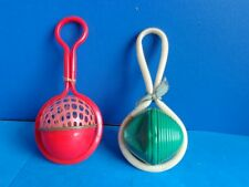 2 ANTIQUE CELLULOID BABY RATTLES