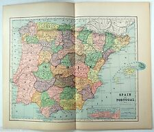 Original 1891 Map of Spain & Portugal by Hunt & Eaton
