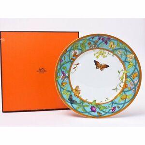 Hermes La Siesta Island Dinner Plate 27 cm blue porcelain dinnerware flower