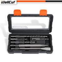 WellCut 6 pcs Heavy Duty Rotary Hammer SDS and Chisel Drill Bit Set with Case