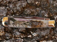 CASE XX TRAPPER KNIFE COLOR SCRIMSHAW GRAY WOLF BREATHING IN SNOWY FOREST