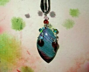 Green Purple Horse Eye Dragon Veins Agate Pendant Black Necklace OOAK bead heart