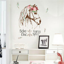 Horse Head Feather Quote Home Decals Flower Wall Decor Wall Sticker Words Art