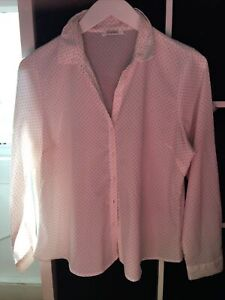 Marks and Spencer Size 16 White Pink Spot Long sleeve Blouse (N10)