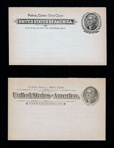 Lot/2 Pre-Printed USPS 1890s 1c Thomas Jefferson Postal Cards Scott UX12 UX14