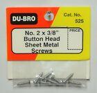 "DU-BRO NO. 2 X 3/8"" BUTTON HEAD SHEET METAL SCREWS (PACKAGE OF 8)( CAT. # 525 )"