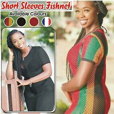 Womens Rasta Short Sleeves Striped Multi Colour Vest Mesh Fishnet Top Reggae