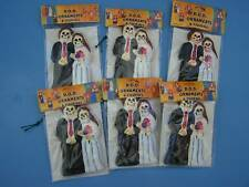 Lot of 6 Skeleton Wedding Couple Clay Ornaments - Peru