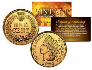 Lot of 2 INDIAN HEAD Cent Pennies U.S. Coins 24K GOLD PLATED Penny with Capsules