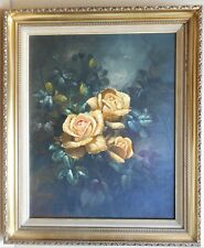 Yellow Roses. Original oil painting by P Brand, circa 1970