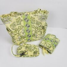 Lemon Hill Quilted Tote Handbag Purse Bag Yellow Green Matching Wallet