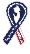 Lot Of 24 Pray for Our Nation USA Ribbon with Rosary Flexible Auto Magnet,