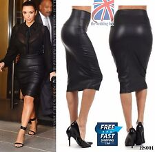 WOMENS WET LOOK FAUX LEATHER PENCIL WIGGLE BODYCON HIGH WAISTED MIDI SKIRT BS001