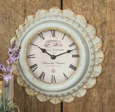"""New French Country Cottage Chic Shabby Vintage Style Grey Metal Wall Clock 11"""""""