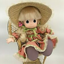 Vintage Precious Moments Tiffany Doll Blonde with Straw Bonnet Pink Dress GM