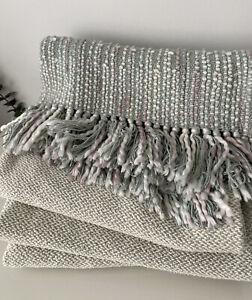 Laura Ashley Textured Eau Di Nil Fringed Cotton Throw 200x140cm