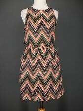 ROSEBUD Dress M Multi-color Chevron DR1876F Silky Boho