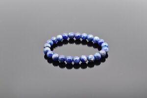 Handmade 8mm Lapis Lazuli Beaded Bracelet (7 Inch)