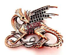 COPPER PURPLE DRAGON BROOCH rhinestone pin fantasy Game of Thrones Targaryen M3