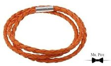 Mr Pefe Three Laps Leather Bracelet - Orange - Heren Armband met sluiting