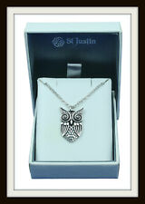 OWL PEWTER PENDANT NECKLACE ~ FROM ST. JUSTIN ~ MADE IN THE UK