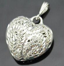 Sterling Silver Puffed Heart Pendant Graceful Diamond Cut Open Filigree Design