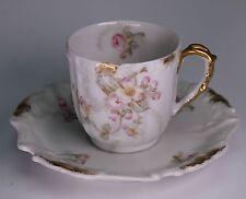 Elite Works Limoges France Pink Apple Blossoms Dogwood Demitasse Cup and Saucer