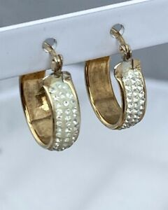 Sterling Silver 925 & 9ct Gold Bonded Oval Creole Hoop Earrings