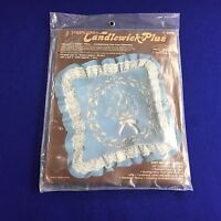 "Paragon Candlewick-Plus Enbroidery Pillow Kit Vintage 14"" Square Lace Needlework"