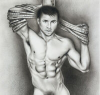 Print Of Male Oil Painting - The Captive - Pin Up Art Man Drawing Artist Andreev