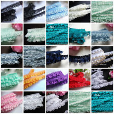 Ruffled Lace Trim 3/4 inch wide selling by the yard-select color