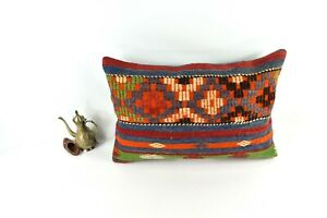 Kilim Lumbar Pillow 16x24 Handmade Vintage Oushak Decorative Cushion Cover 3431