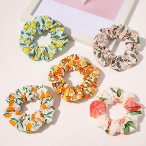 Sweet Fruit Printed Hair Rope Ring Elastic Rubber Bands Hair Scrunchies Ornament
