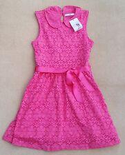 MARKS & SPENCER Kids Girls Dark Pink Lace Net Sleeveless Dress 11-12 Years