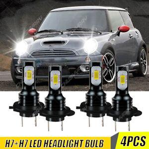 For Mini Cooper 2002-2006 - 4x H7+H7 LED Headlight Kit High/Low beam White Bulbs