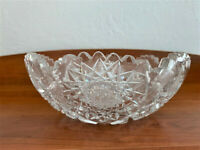 Antique Sawtoothed Etched Crystal Bowl from American Brilliant Cut Glass Period