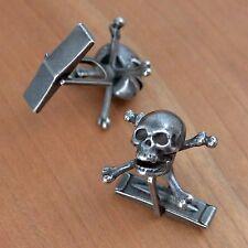 Skull and Crossbones Cufflinks, Skull & Bones society, Ox-Sterling, Handcrafted