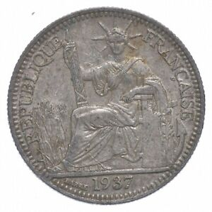 Roughly Size of Dime 1937 French Indochina 10 Centimes World Silver Coin *831