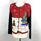 Vintage Nutcracker Ugly Christmas Sweater Cardigan Teddy Bears Size Medium