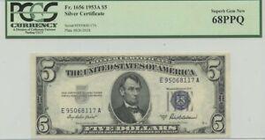 1953A $5 Silver Cert FR#1656 PCGS 68 Superb Gem New PPQ