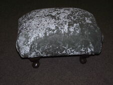 Superb silver crushed velvet fabric small footstool short queen anne style legs