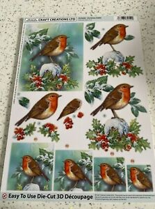 A4 Craft Creations Christmas 3D Decoupage Sheets - Die Cut robins,bears and more