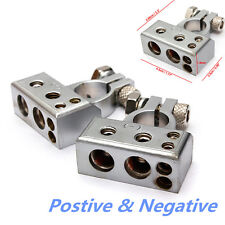 Pair 12V Car Battery Terminal Clamp Clips Connector Negative Positive 2 4 8 AWG