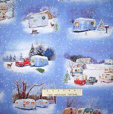 "Christmas Fabric - Vintage RV Camper Trailer Blue - Elizabeth's Studio 16"""