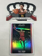 TRAE YOUNG ROOKIE LOT OF (2) 2018 PANINI STUDIO & CROWN ROYALE ATLANTA HAWKS