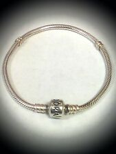 Authentic PANDORA Sterling Silver Starter Snap Bracelet / Barrel Clasp! 19.5 cm