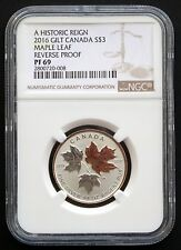 2016 Canada: ¼ oz $3 A Historic Reign, Gilt Maple Leaf, Reverse Proof, NGC PF69