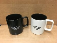 New MINI Cooper Logo Ceramic Coffee Tea Cup Mug 17 oz  White Black Bundle Pair