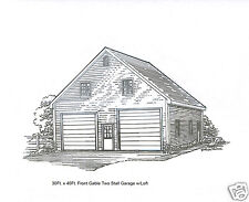 30 x 36 2 Stall Fg Garage Building Blueprint Plans w/Loft