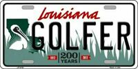 Golfer Louisiana State Background Novelty License Plate